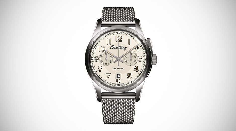 Breitling Transocean Chronograph 1915 With Silver Steel Strap