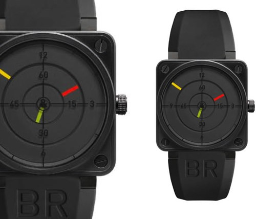 Bell & Ross Radar black dial rubber strap watch