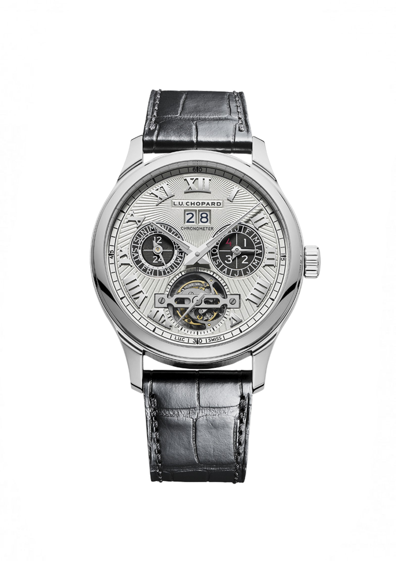 Front of Chopard L.U.C Perpetual T-Platinum watch