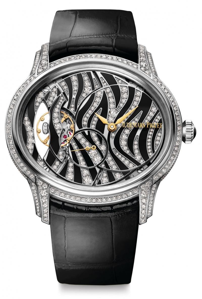 Front of Audemars Piguet Millenary Hand-Wound diamonds and velvet-black onyx watch