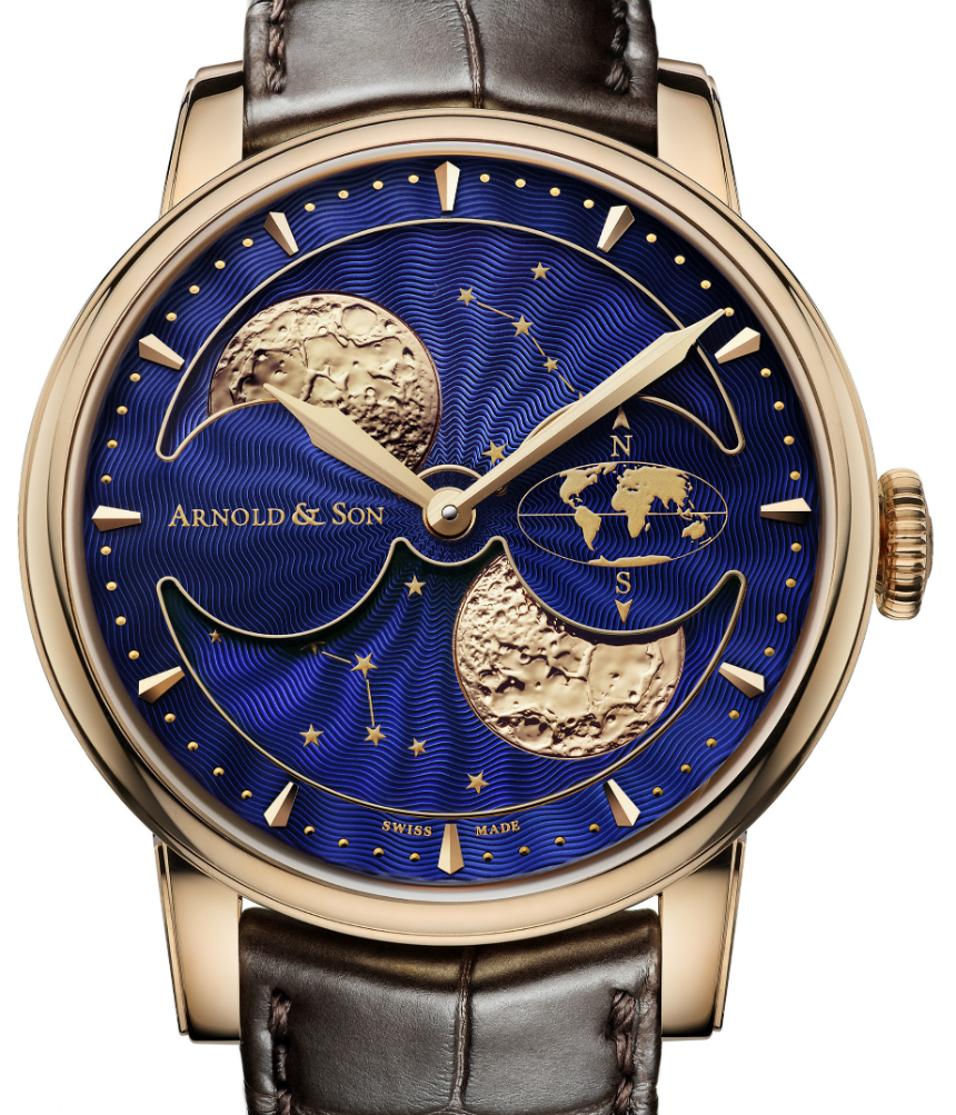 Front of Arnold & Son HM Double Hemisphere Perpetual Moon watch