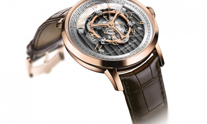 Side of Arnold & Son new Golden Wheel watch