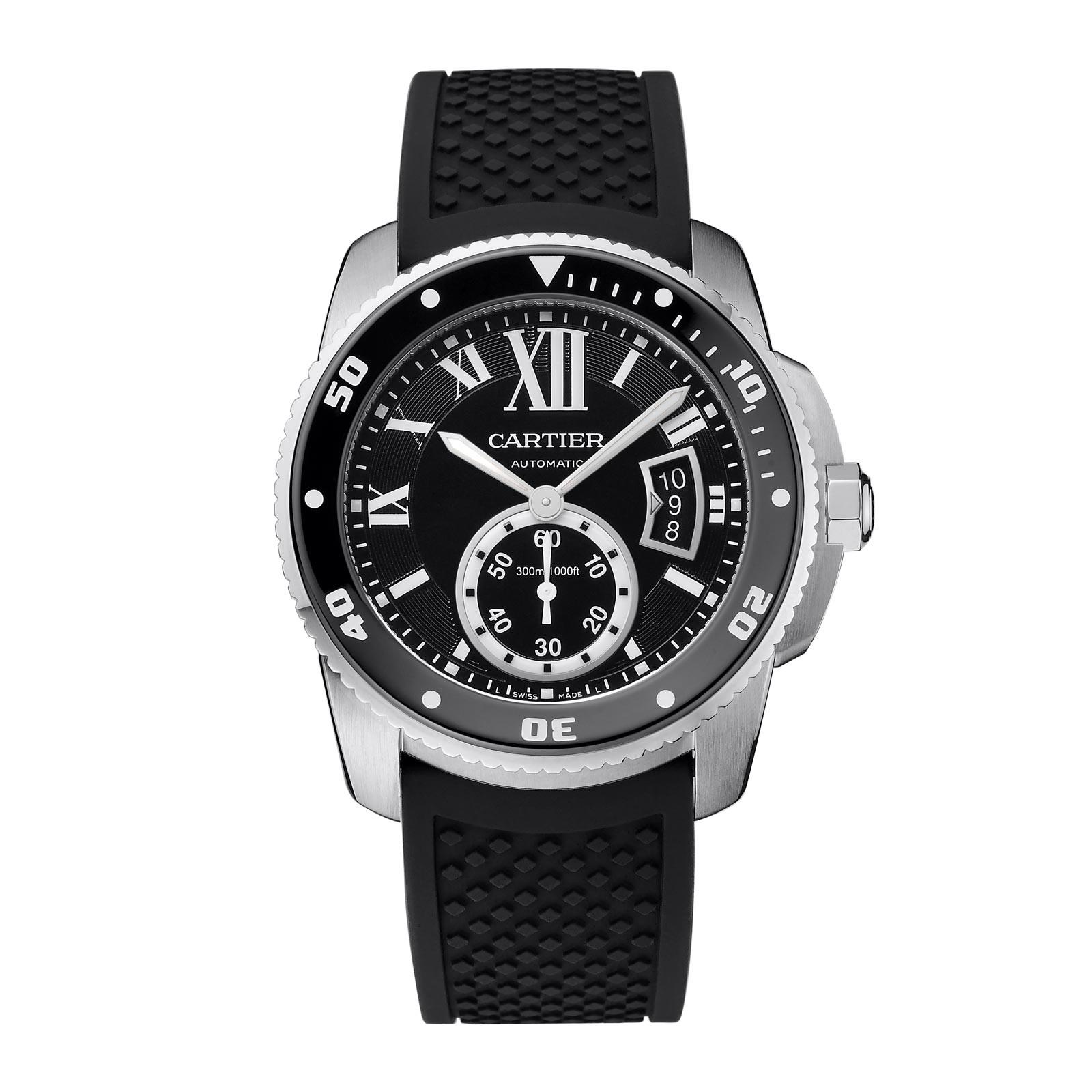 Front of Cartier Calibre de watch for diver
